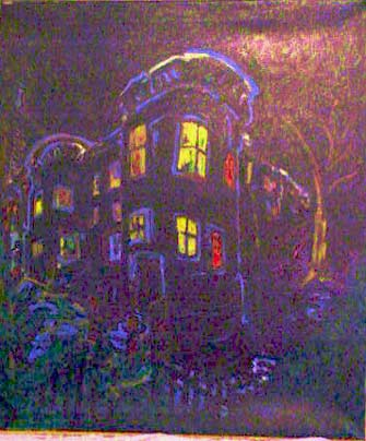 House in the Night 2002 42x46 oil