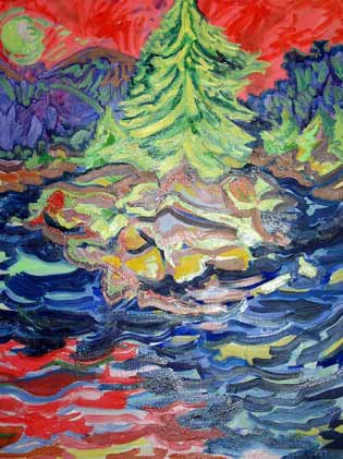 Island in the Lake 1997 0il 32 x 42