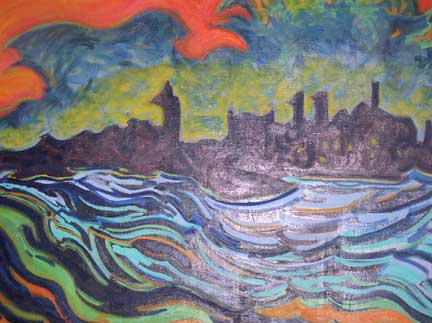 On New York Harbor 1997 oil 36x 46