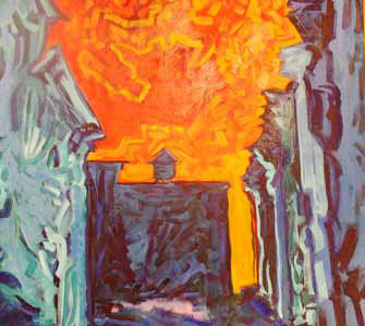 Soho Sunset 1997 oil 38x 46