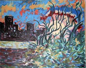 NYC Winter scene 1999 0il 42 x38